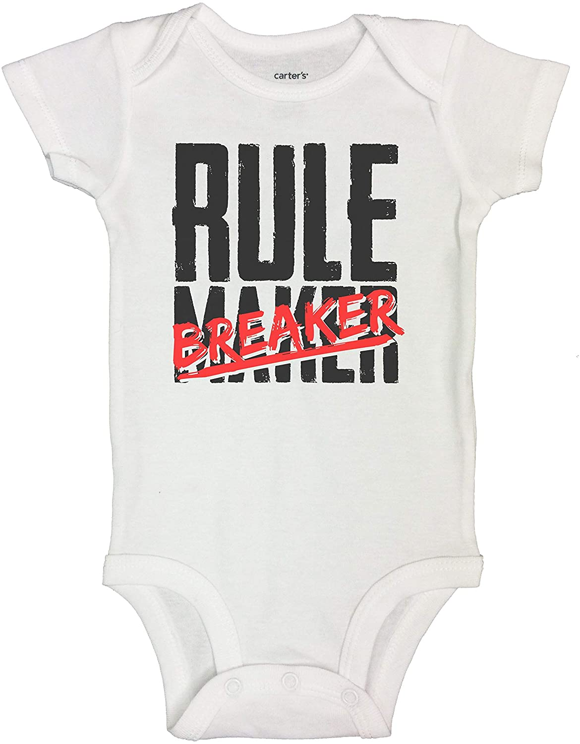 Boys-Girls Newborn Baby Bodysuits and Toddler Tees Rule Breaker Funny Family Shirt Collection White