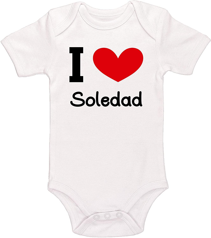 Kinacle I Love Soledad Personalized Baby Bodysuit