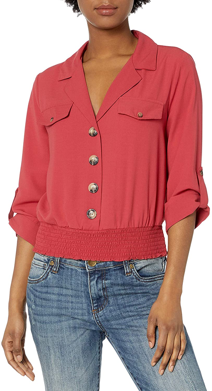 A. Byer Women's Button Front Shirred Banded Top