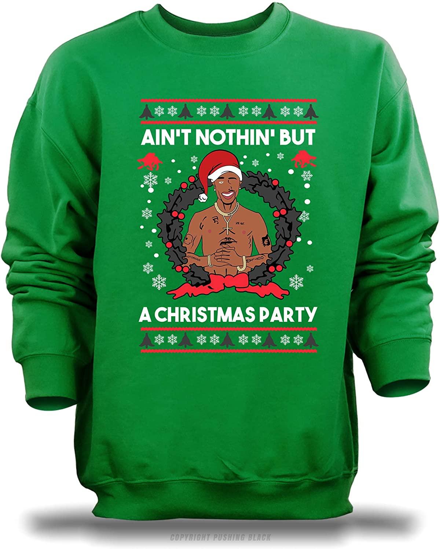 PUSHING BLACK Aint Nothing But a Christmas Party Unisex Sweatshirt (Green (Gildan), X-Large)
