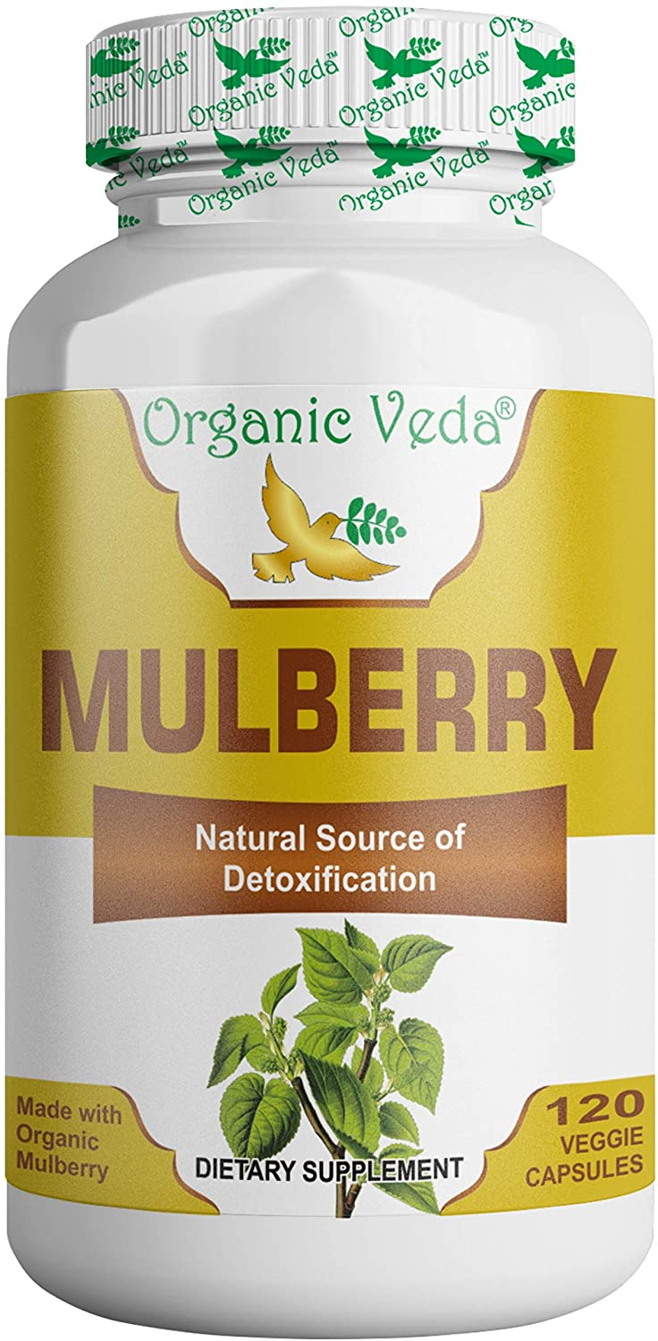 Organic Veda® Mulberry 120 Veg Capsules - Organic, Pure, Veg and All Natural Raw Herb Super Food Supplement. Non GMO, Gluten Free. Made in Health USA FDA Registered Facility.