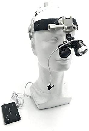 Aries Outlets 3.5X Dental Loupes Surgical Binocular Glass Medical Magnifier Leather Headband DY-108 with 3W LED Headlight (Black)