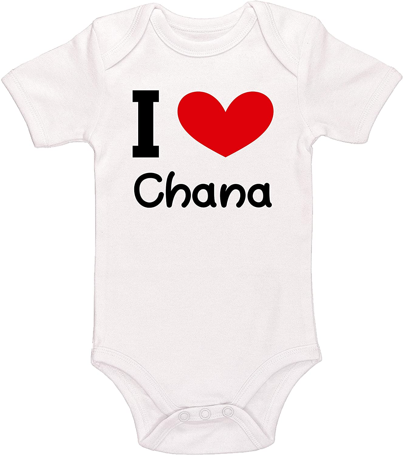 Kinacle I Love Chana Personalized Baby Bodysuit