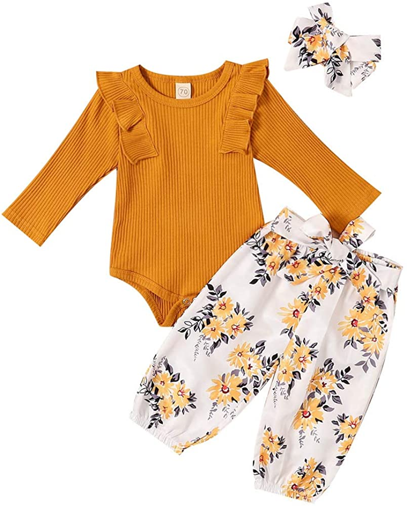 Newborn Baby Girl Clothes Set, ToddlerLong Sleeve O-Neck Tops with Ruffle + Floral Print Long Pants + Headband
