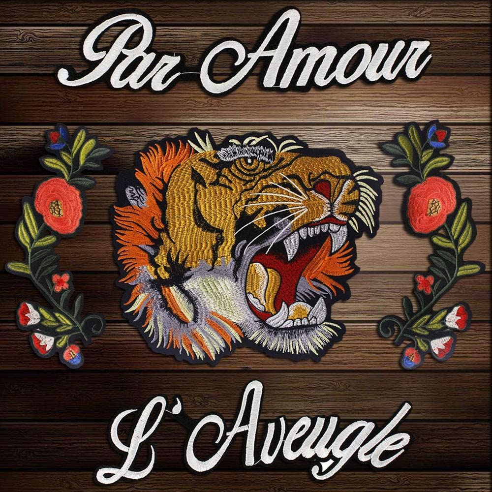 1set Large Tiger Head Flowers Applique Embroidered Patches Sew On Patch Lace Fabric Motifs Decoration Cloth Sewing Accessories