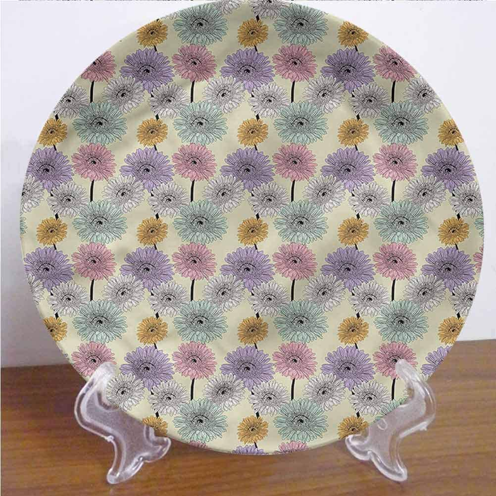 Channing Southey 6 Inch Colorful Customized Dinner Plate,Chrysanthemum Plants Round Porcelain Ceramic Plate Decor Accessory for Pasta, Salad,Party Kitchen Home Decor