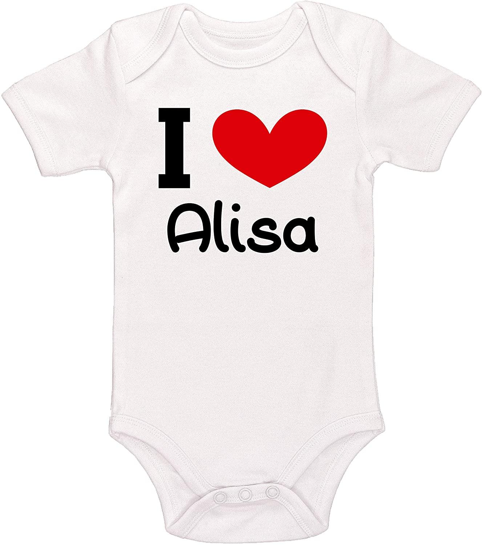 Kinacle I Love Alisa Personalized Baby Bodysuit