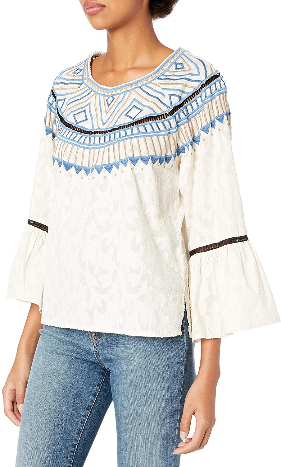 Plenty by Tracy Reese Womens Embroidered Top