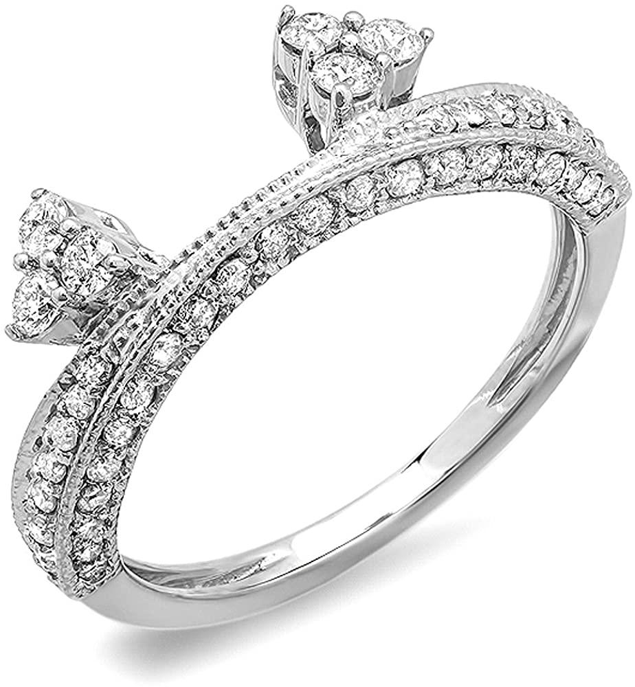 Dazzlingrock Collection 0.50 Carat (ctw) 14K Round Diamond Ladies Anniversary Wedding Band Enhancer Guard 1/2 CT, White Gold