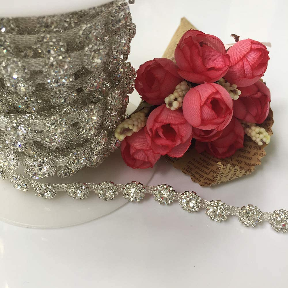5Yards Hot Fashion Silver Rhinestone Wedding Belt Trims Clear Crystal Trims for Clothes Dress DIY Handmade Jewelry (Silver Base)