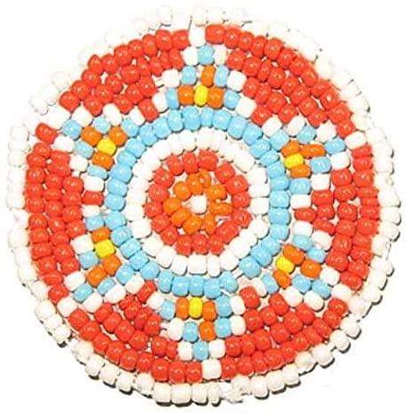 Beaded Rosettes 1-1/2 Bead Work Decorative Applique Leather Crafts Medallion