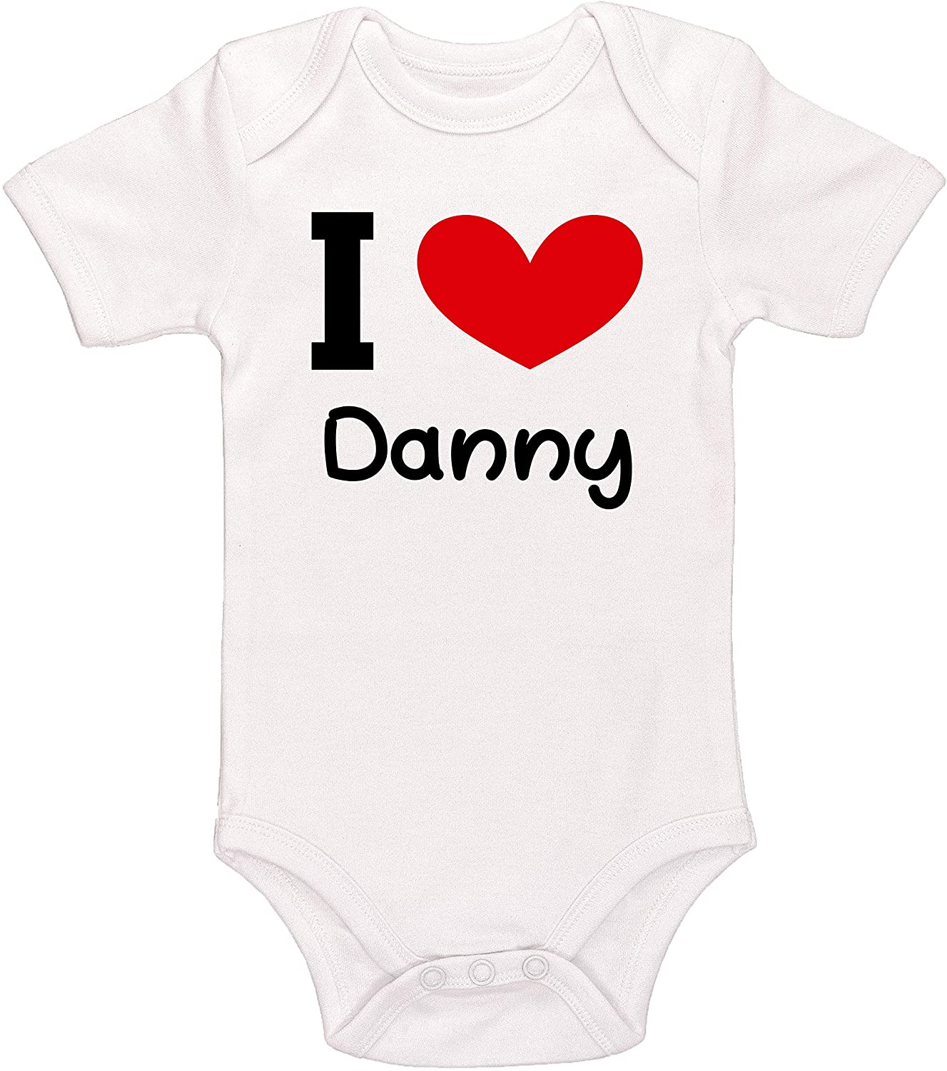 Kinacle I Love Danny Personalized Baby Bodysuit