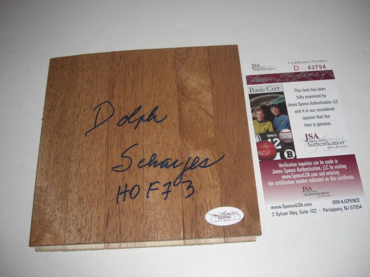 Dolph Schayes Syracuse Nationals Hof 73 Jsa/coa Signed 6x6 Floorboard - Autographed NBA Floor Boards