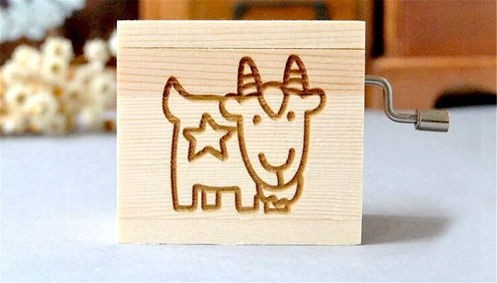 Biscount Home Decor Capricorn Hand Crank Music Box Vintage Wood Music Box Retro Biscount 12 Constellation Musical Boxes Children Birthday Gift