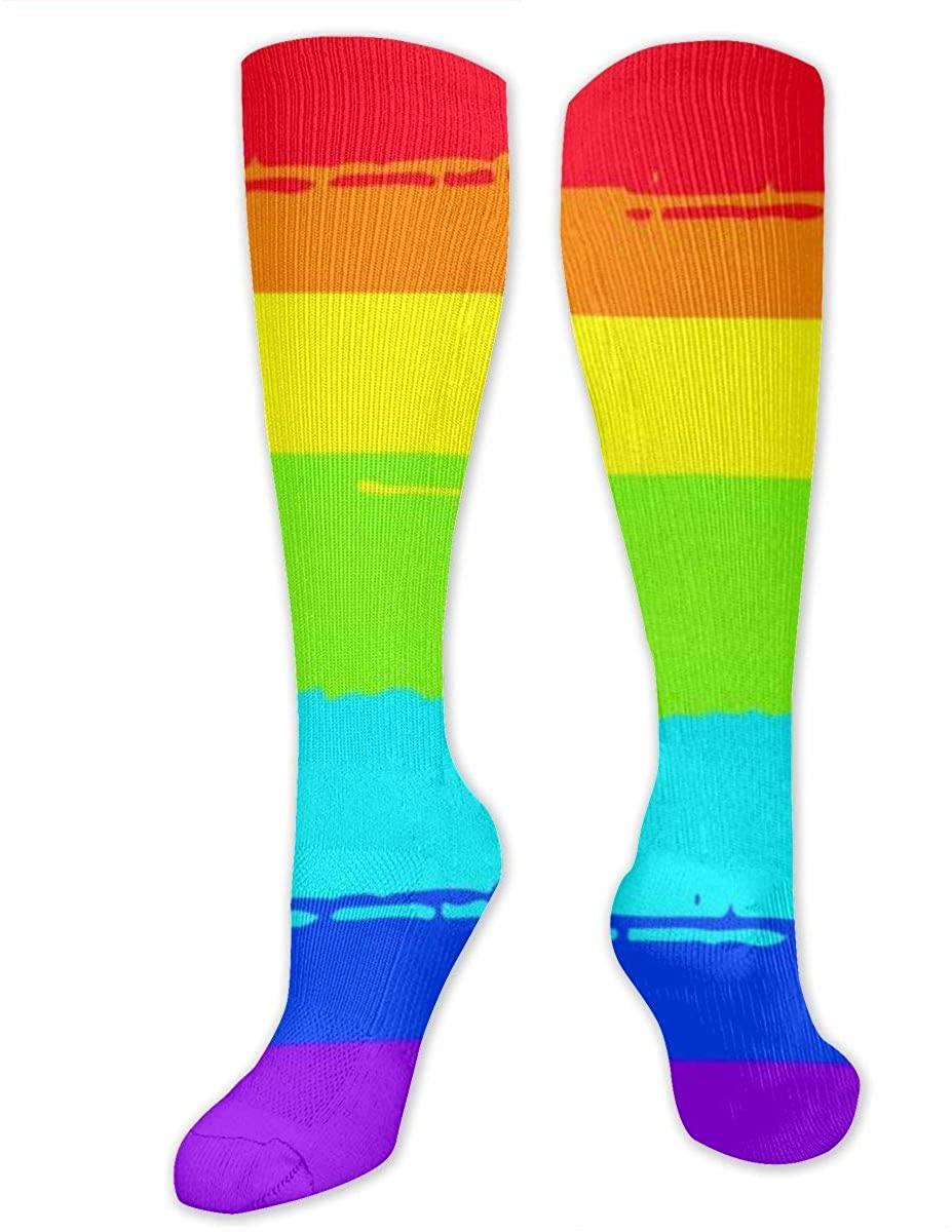Men Women Knee High Socks LGBT Gay Pride Flags Rainbow Boot Crew Hose Thigh Stockings
