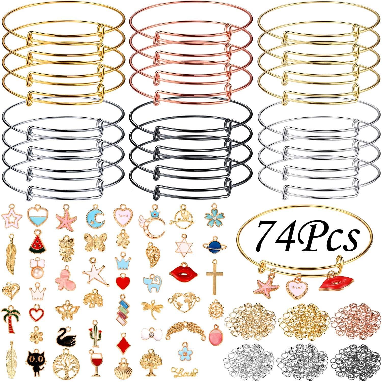 24 Pieces Expandable Bangle Bracelets Adjustable Wire Blank Bracelets with 240 Pieces Open Jump Rings, 30 Pieces Gold Enamel Charm Pendant, 20 Pieces Alloy Hollow Pendants for DIY Jewelry