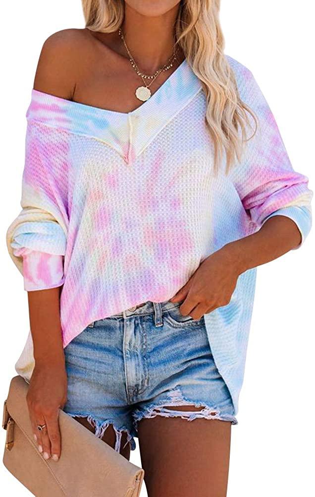 Ezcosplay Women Tie Dye Print V Neck Shirts Tops Batwing Sleeve Waffle Blouse