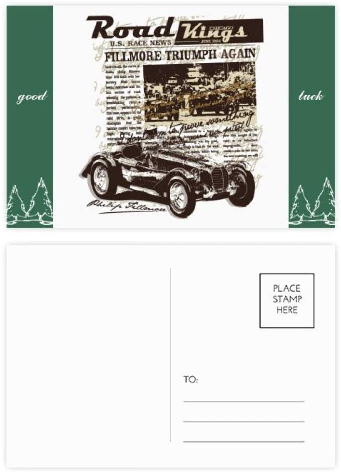 Classic Cars Newspaper Pattern Illustration Good Luck Postcard Set Card Mailing Side 20pcs