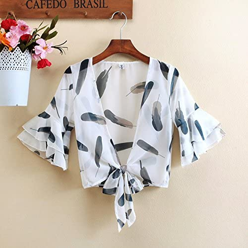 2018 ComfortableWomen's Tied Front Deep V Plunge Seamless Feather Style T-Shirt Summer Blouse Crop Tops (M)