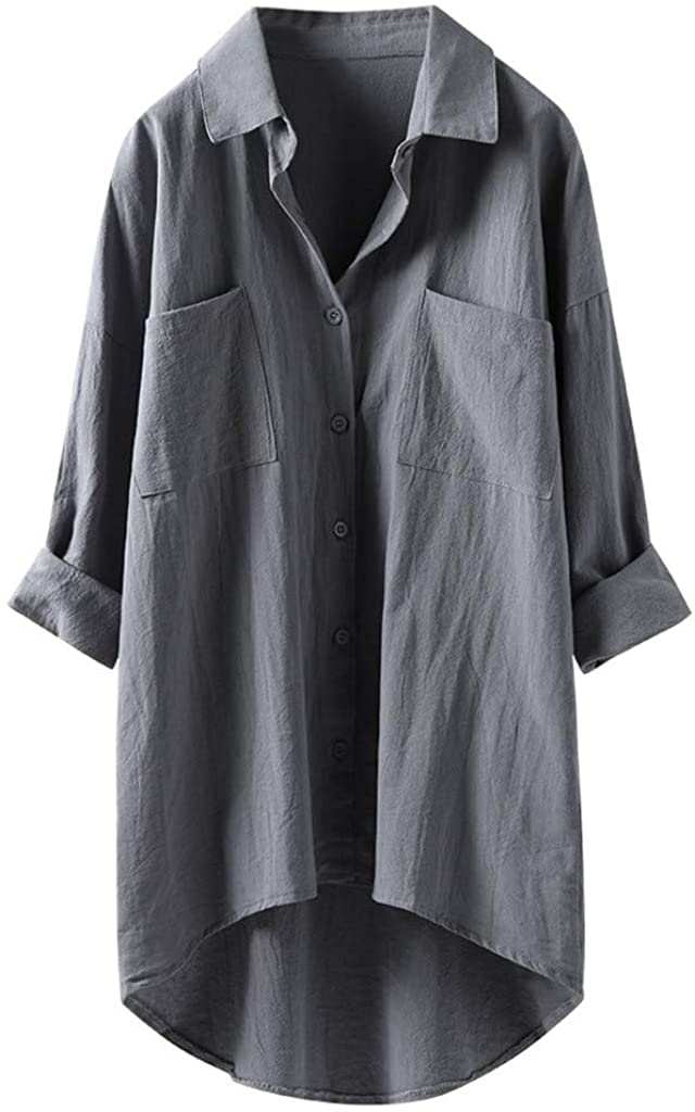 Women's Linen Blouse High Low Shirt Roll-Up Sleeve Tops with Pockets
