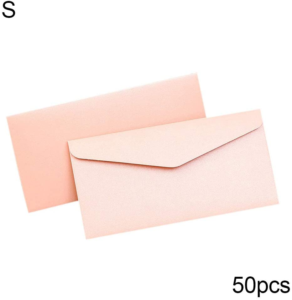 tbpersicwT 💗 50Pcs Recycled Craft Letter Paper Envelopes DIY Greeting Card Scrapbooking Gift, Storage Pouch, Envelopes - Pink S