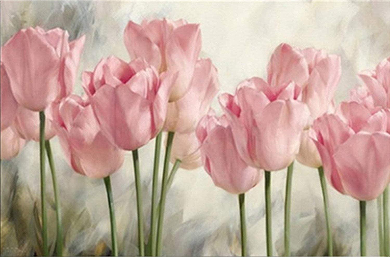 Flower Pink Tulips Diamond Painting Kits by Number, 5D Full Drill Round Rhinestone Embroidery Cross Stitch for Home Wall Décor 12X16 inch