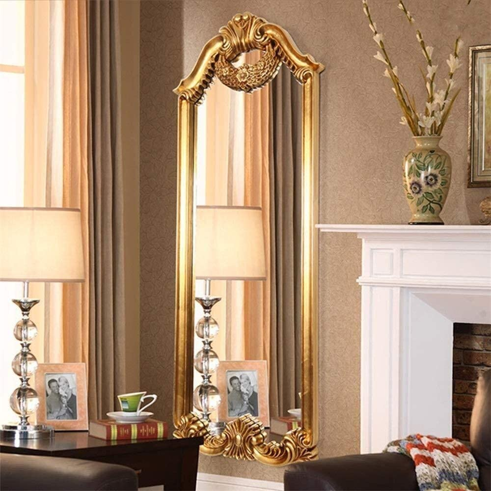 Tian European Retro Home Body Full-Length Mirror Bedroom Barber Shop Floor Floor Mirror (Color : Antique Gold)