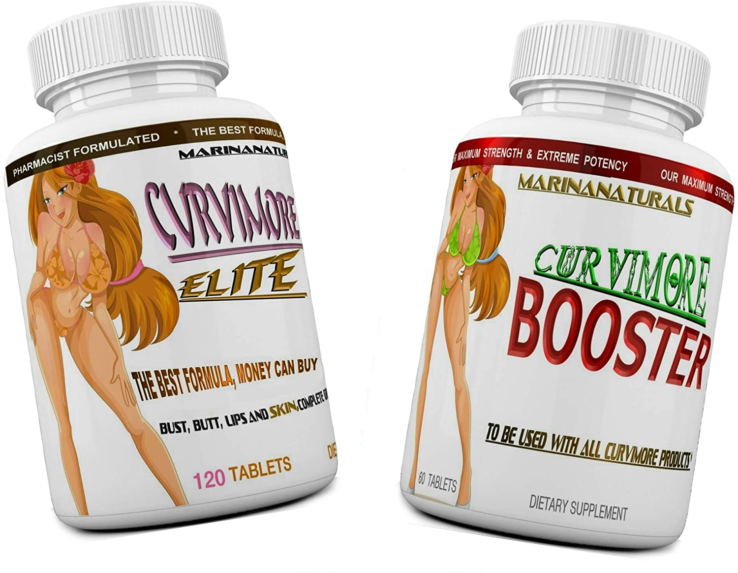 CURVIMORE Elite Complete Our Advanced Natural Breast Enlargement, Butt Enhancement, Bust Enhancement Lip Plumping & Skin Tightening Pills – Fuller Breasts, Booty & Brazilian Butts. 3-Month Course