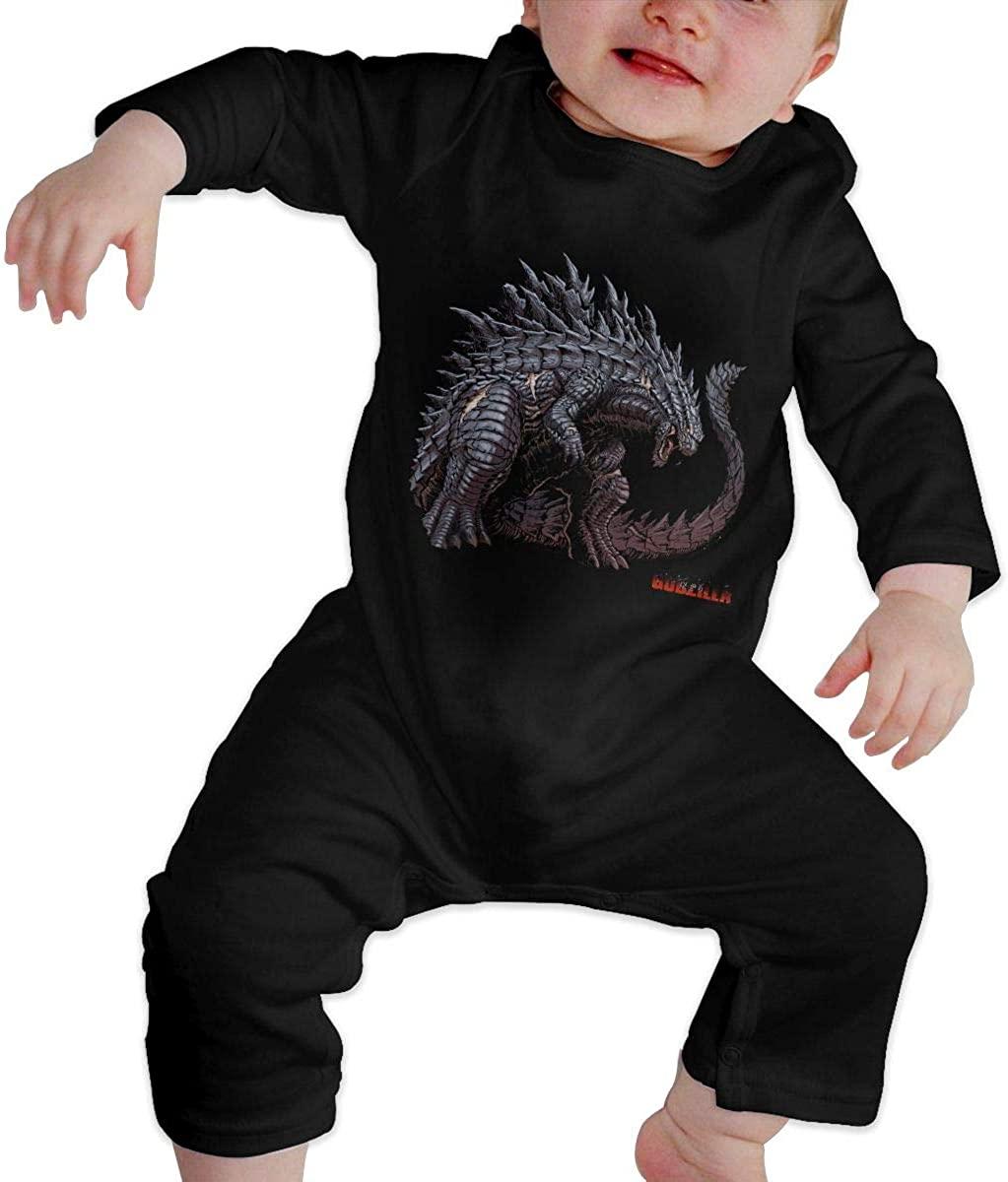 Watkinsmarket God-Zilla Baby Boy Girl Jumpsuit Jumpsuit Baby Newborn Cotton Long Sleeve Jumpsuit Black