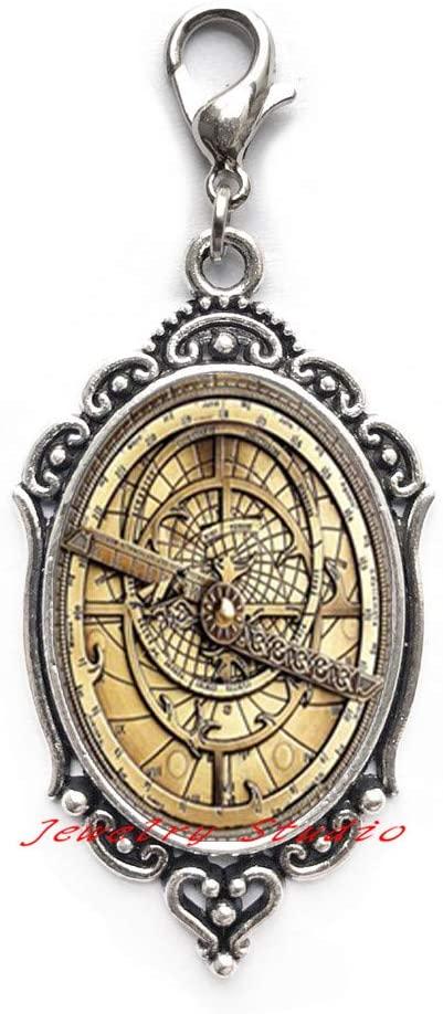 Steampunk Mysteries Wheel Zipper Pull Glass Mens Astrolabe Women Best Friends Lobster Clasp-HZ0256