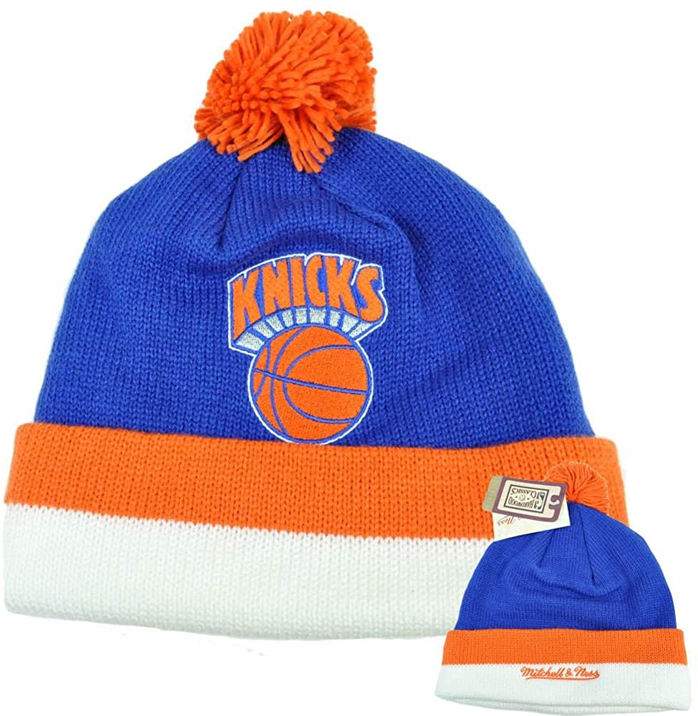 Mitchell & Ness Men's New York Knicks Jersey Stripe Cuffed-Knit Beanie w/Pom Pom New York Knicks Hat One Size