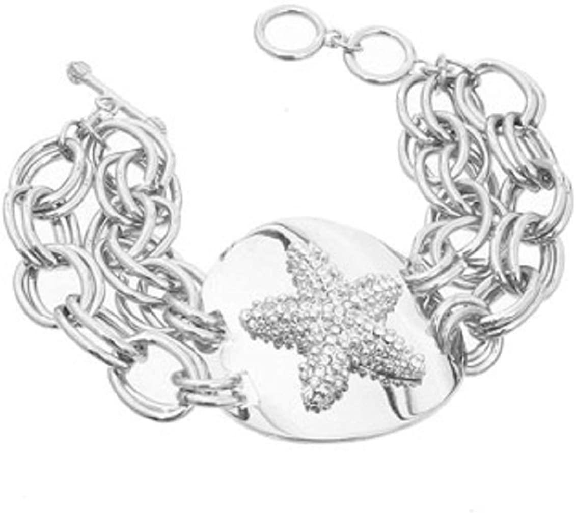 Fresh Crystal Starfish Silver Tone Link Toggle Bracelet