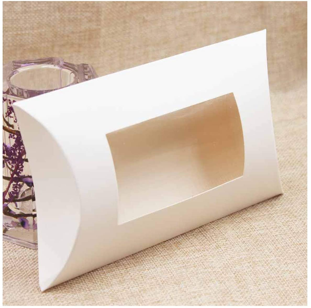 DIY Blank Paper Gift Box Multi Size Pillow Gift Box with Clear PVC Window Paper Window Box for Gift 10Pcs,Color As Pic,125X80X20Mm