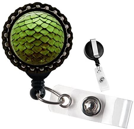 Green Dragon Egg Black Retractable Badge Reel ID Tag Holder by Geek Badges