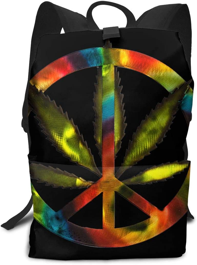 WAY.MAY Cannabis Leaf Tie Dye Peace Sign Adults Business Backpack Computer Shoulders Bag Travel Daypack