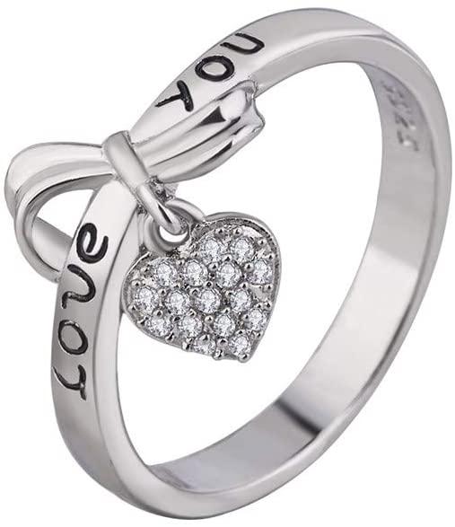 Ximandi Women Love Ring Heart Ring Love Couple Jewelry Zirconium Ring Women Girls Luxury Rings