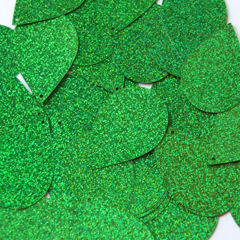 Sequin Teardrop 1.5 Green Sparkle Glitter Metallic. Made in USA