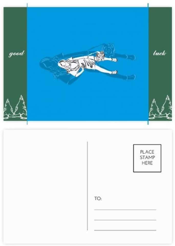 Blue Fashion Beautiful Woman Good Luck Postcard Set Card Mailing Side 20pcs