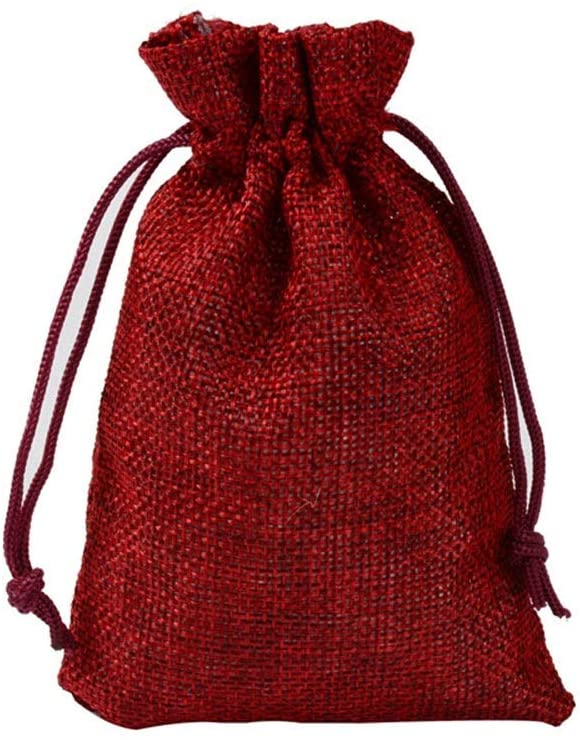 Waitousanqi 100 Gift Bags - Monochrome Linen Yarn Bag, Drawstring Opening, Wedding/Makeup Bag, Small Gift Bag Gift Bag and Card (Color : Liquor Red, Size : 13x18cm)