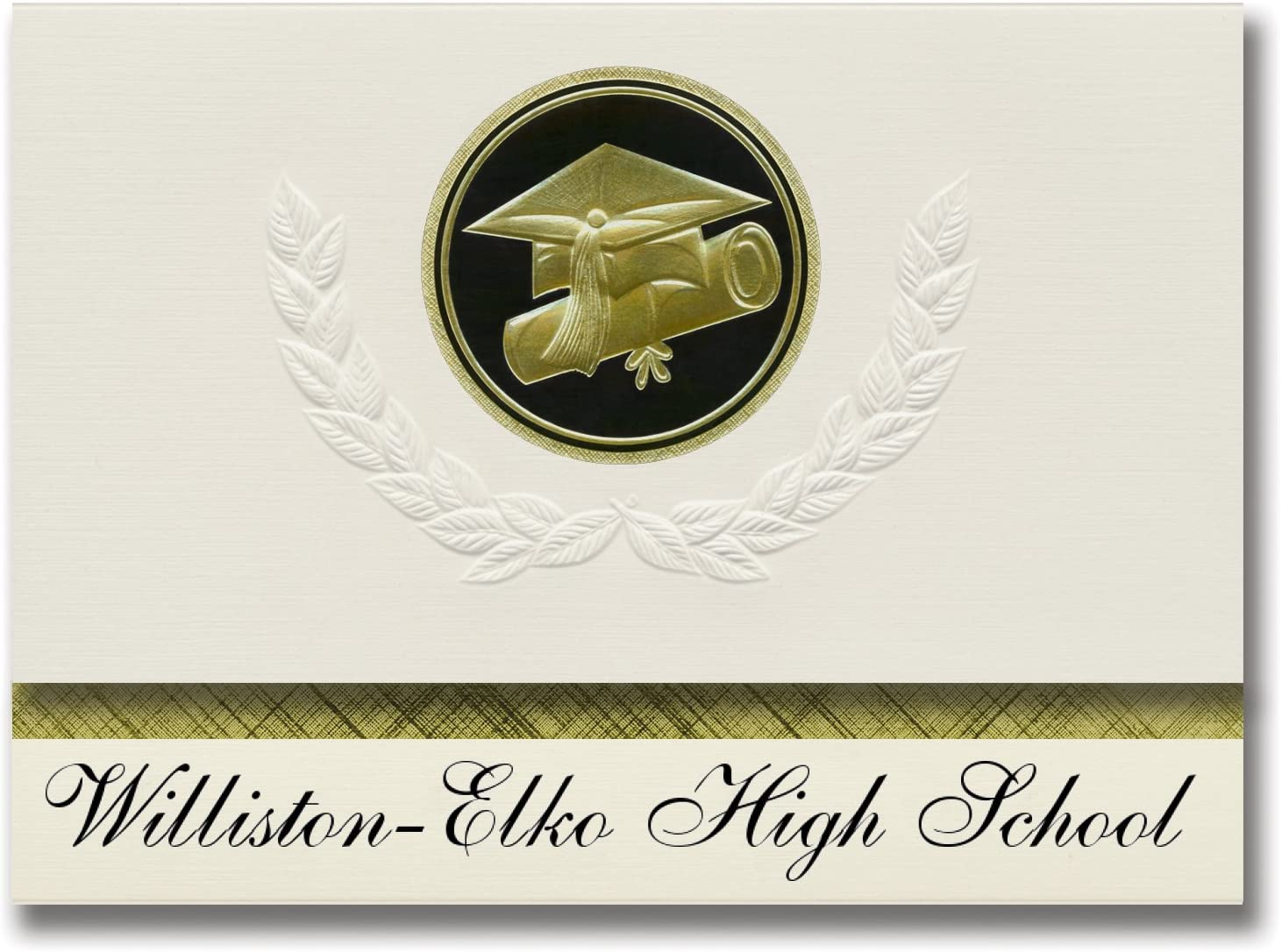 Signature Announcements Williston-Elko High School (Williston, SC) Graduation Announcements, Presidential style, Elite package of 25 Cap & Diploma Seal Black & Gold