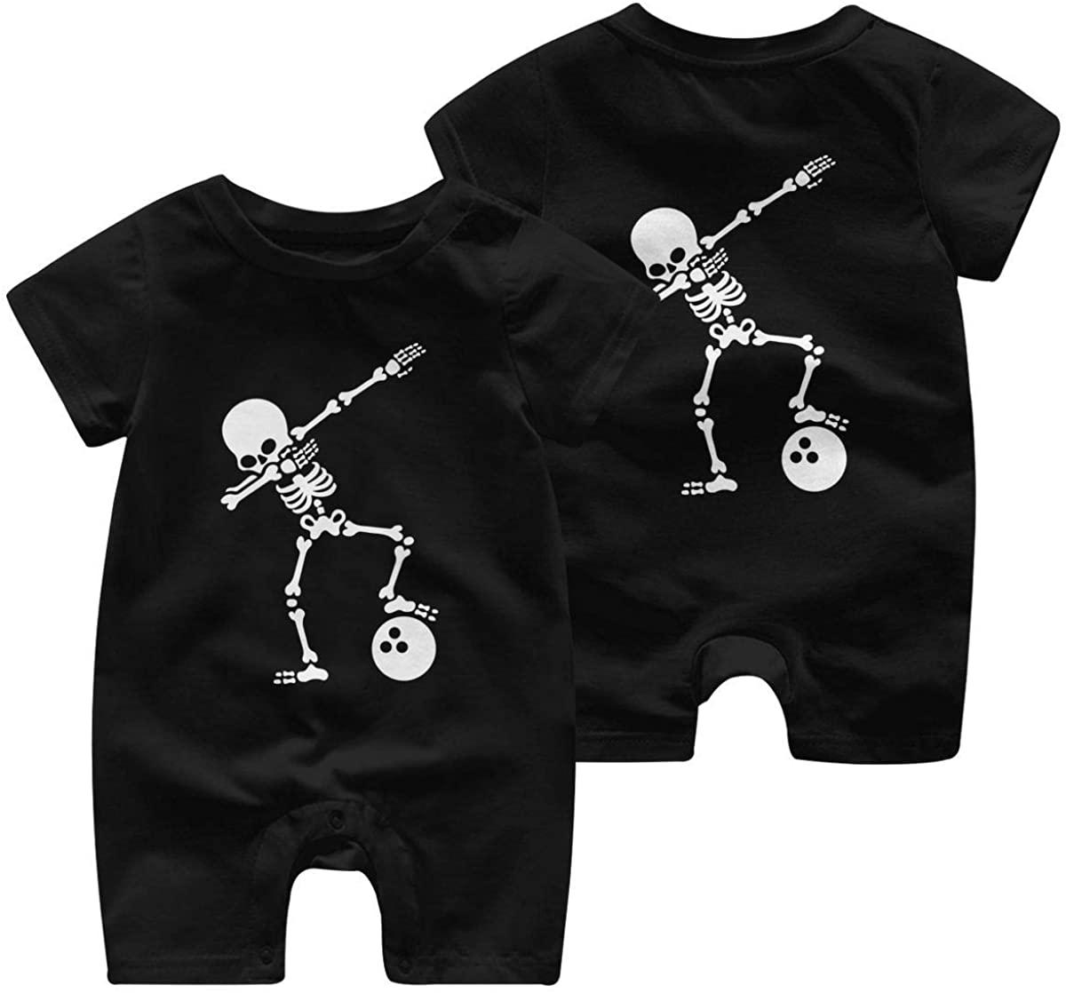 Skeleton Dabbing Bowling Ball T-Shirt Boy Girl Infant Baby Girls Short Sleeve Bodysuit Romper Jumpsuit for 0-24M