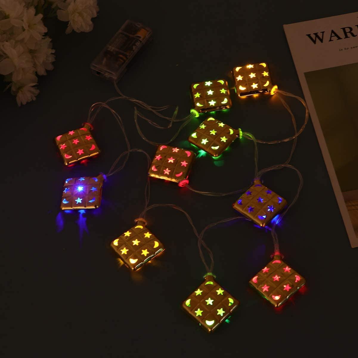 Uonlytech Muslim Ramadan String Lights, 1.65M 10LEDs Golden Eid String Lights, Party Lights for Eid Festival Christmas Bedroom Banquet Decorations(Colorful Light)