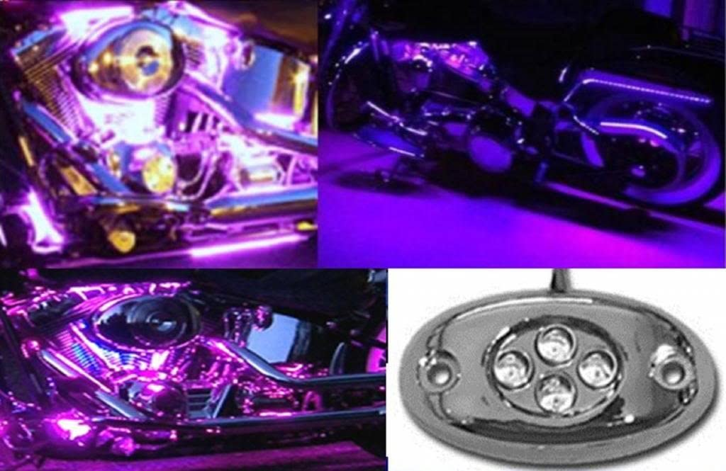 OCTANE LIGHTING 1PC Purple LED Chrome Accent Module Motorcycle Chopper Frame Neon Glow Light Pod