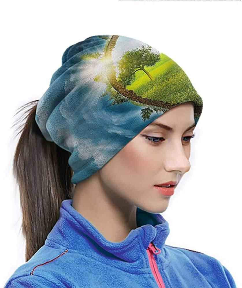 Magic Scarf Earth, Circle Greenery Clouds Motorcycle Bandanas Also can Wearing on Wrist or Around Ankle 10 x 11.6 Inch