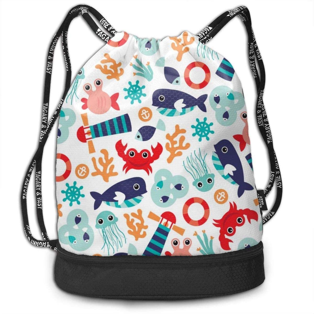 Bundle Backpacks Marine Theme Jelly Fish Gym Sack Drawstring Bags Casual Daypack Yoga Bag School Training Pouch
