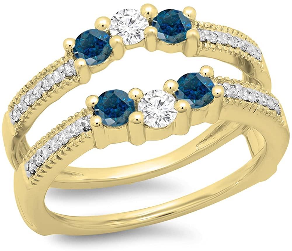0.80 Carat (ctw) 14K Gold Round Blue & White Diamond Wedding Band 3 Stone Enhancer Guard Ring 3/4 CT