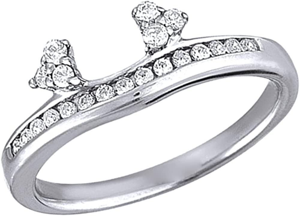 Triostar 1/4 Ct D/VVS1 Diamond Three Stone Contour Ring Guard Wrap in 14K White Gold Plated