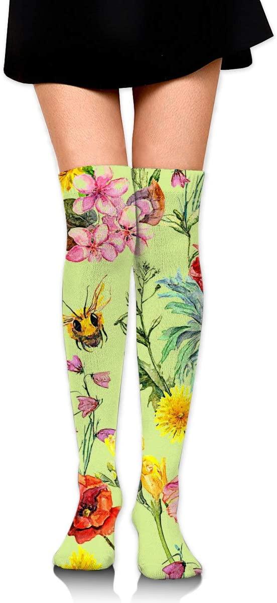 HanJD-JS Bee Egg Flower Watercolor Women Long Cotton Thigh High Socks Over The Knee High Boot Stockings
