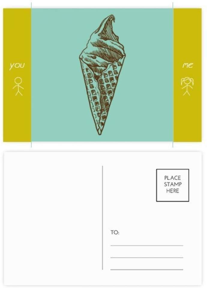 Cream Chocolate Sketch Ice Cream Cones Friend Postcard Set Thanks Card Mailing Side 20pcs