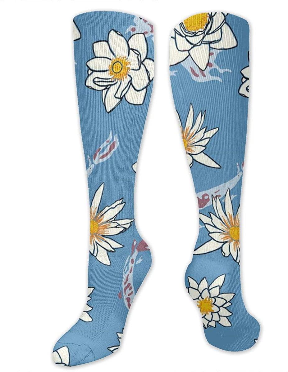 Men Women Knee High Socks Japan Koi Carp Fish Flowers Lotus Boot Tube Hose Thigh Stockings